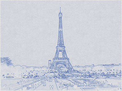 Bath Time - Blueprint drawing of Eiffel Tower_0013 by Celestial Images