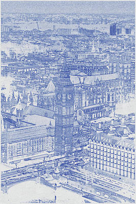 Bath Time - Blueprint drawing of Elizabeth Tower, London  by Celestial Images