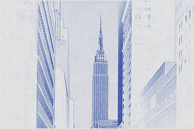 Bath Time - Blueprint drawing of Empire state building in city by Celestial Images