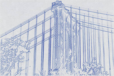 Travel - Blueprint drawing of Fragment of Manhattan Bridge against blue sky by Celestial Images