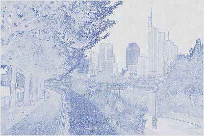 Travel - Blueprint drawing of Frankfurt, Germany 3 by Celestial Images