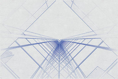 Travel - Blueprint drawing of Glass building by Celestial Images