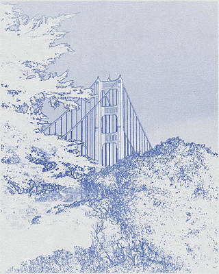 Travel - Blueprint drawing of Golden Gate Bridge during Sunset by Celestial Images