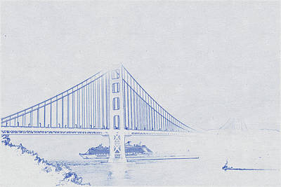 Travel - Blueprint drawing of Golden Gate Bridge in Grayscale Photography by Celestial Images