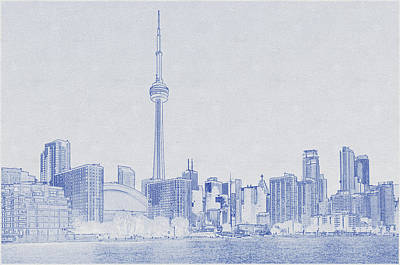 Keith Richards - Blueprint drawing of High Rise Buildings Under Blue Sky by Celestial Images