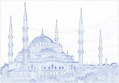Moody Trees - Blueprint drawing of The Blue Mosque, Istanbul, Turkey 2 by Ahmet Asar by Celestial Images