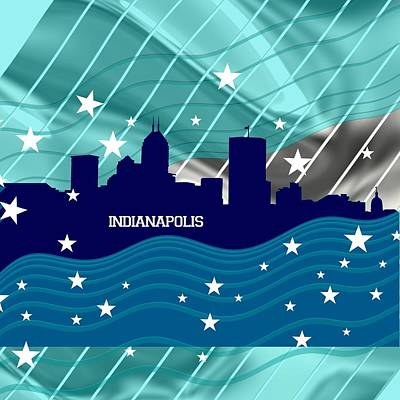 Sports Royalty-Free and Rights-Managed Images - Bluish Indianapolis skyline by Alberto RuiZ