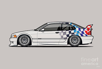 Sports Royalty-Free and Rights-Managed Images - BMW 3 Series E36 M3 GTR Coupe Touring Car by Tom Mayer II Monkey Crisis On Mars