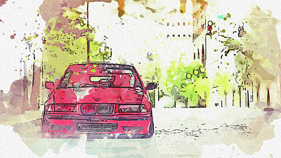 The Champagne Collection - BMW E36 -  Modern Cars Poster, watercolors ca 2020 by Ahmet Asar by Celestial Images