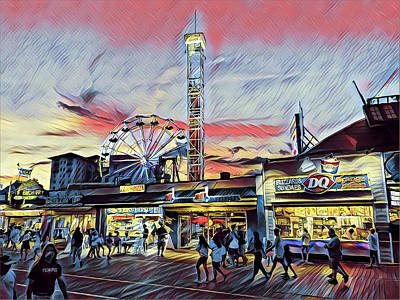 Surrealism Royalty-Free and Rights-Managed Images - Boardwalk at night by Surreal Jersey Shore