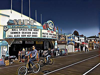 Surrealism Royalty-Free and Rights-Managed Images - Boardwalk Bike Ride by Surreal Jersey Shore