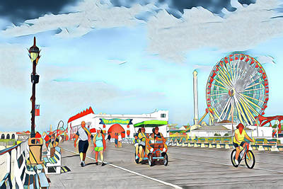Surrealism Royalty-Free and Rights-Managed Images - Boardwalk Excercise by Surreal Jersey Shore