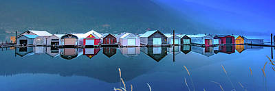 Vintage Signs - Boathouse Blues 3 to 1 Panorama  by Joy McAdams