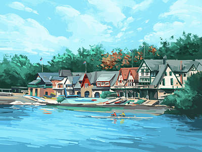 Royalty-Free and Rights-Managed Images - Boathouse Row by Bekim M