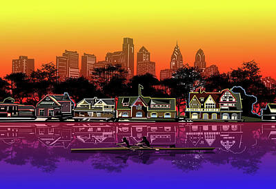 Royalty-Free and Rights-Managed Images - Boathouse Row Sunset by Bekim M