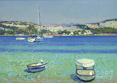 Painting - Boats off the coast. Gumbet by Simon Kozhin