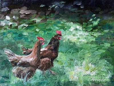 Animals Paintings - Bock Bock by Lori Pittenger