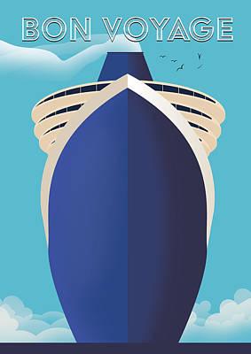 Digital Art - Bon Voyage nautical poster by David Greenaway