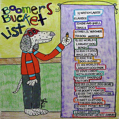 Animals Drawings - Boomer Does His Bucket List by Sharon Hill