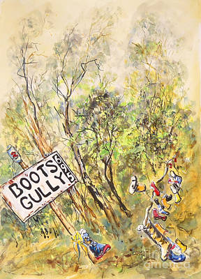 Painting - Boots Gully, near Daylesford, Central Victoria. by Ryn Shell