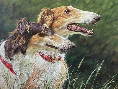Animals Paintings - Borzoi Dogs by Alan M Hunt