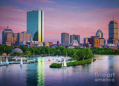 Sports Royalty-Free and Rights-Managed Images - Boston Skyline by Inge Johnsson