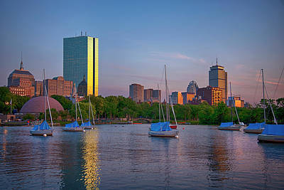 Modern Man Surf - Boston Skyline Sunset Over The Charles River  by Joann Vitali