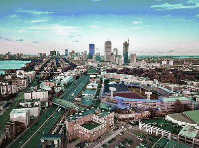 Surrealism Royalty-Free and Rights-Managed Images - Boston skyline, United States 4 - Surreal Art by Ahmet Asar by Celestial Images
