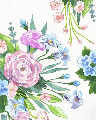 The Beach House - Botanical Flowers Sweet Pattern Watercolor  by Irina Sztukowski