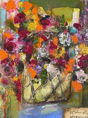 Mixed Media - Bouquet in a Basket  by Elena Kent