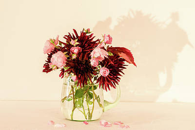 Old Masters Royalty Free Images - Bouquet of autumn flowers in a green glass pitcher Royalty-Free Image by Torbjorn Swenelius