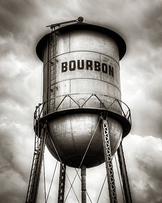 A White Christmas Cityscape - Bourbon Tank In The Clouds - Sepia Edition by Gregory Ballos