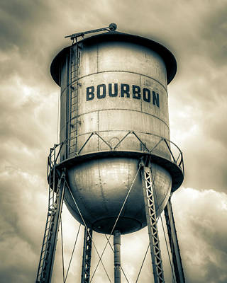 A White Christmas Cityscape - Bourbon Tank In The Clouds - Sepia Monochrome Edition by Gregory Ballos