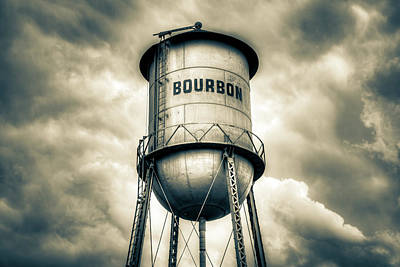 Kitchen Food And Drink Signs - Bourbon Tower and Cloudy Sky Vignette in Sepia by Gregory Ballos