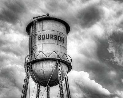 A White Christmas Cityscape - Bourbon Tower in the Clouds - Black and White Edition by Gregory Ballos