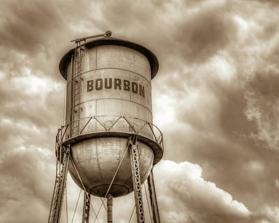 A White Christmas Cityscape - Bourbon Tower in the Clouds - Sepia Edition by Gregory Ballos