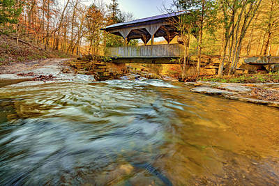 Staff Picks Judy Bernier - Boxley Valley Arkansas Covered Bridge and Adds Creek in Autumn by Gregory Ballos