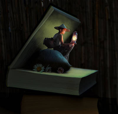 Surrealism Royalty-Free and Rights-Managed Images - Boy and Book Evening Surreal by Barroa Artworks