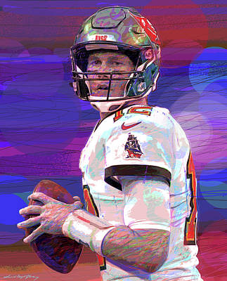 Sports Royalty-Free and Rights-Managed Images - Brady Drops Back by David Lloyd Glover
