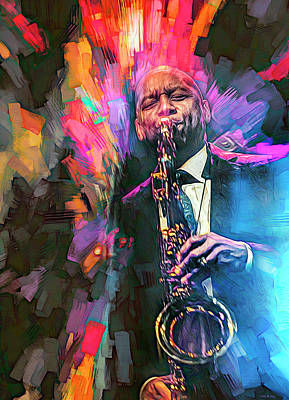 Musicians Royalty Free Images - Branford Marsalis Musician Royalty-Free Image by Mal Bray