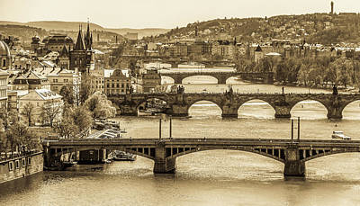 Vintage Performace Cars - Bridges of Prague by Elvira Peretsman