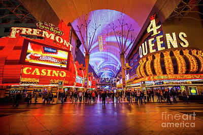 Photograph - Bright Lights on Fremont Street Experience at Night in Las Vegas by Bryan Mullennix