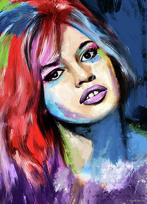 Modern Sophistication Line Drawings Royalty Free Images - Brigitte Bardot painting Royalty-Free Image by Stars on Art