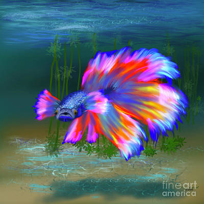 Animals Digital Art - Brilliant Siamese Betta by Gary F Richards