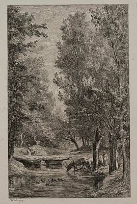 The Beach House - Brook in the Val Mondois c. 1862 Charles Franois Daubigny  by MotionAge Designs
