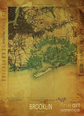 Royalty-Free and Rights-Managed Images - Brooklin Year 1898 Vintage Old Map, USA Old Maps by Drawspots Illustrations