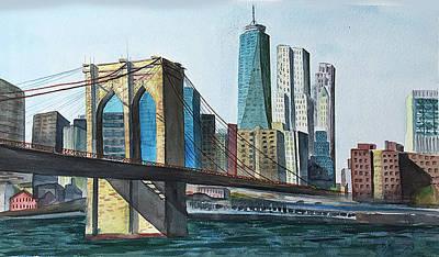 Painting - Brooklyn Bridge by Barbara Busenbark
