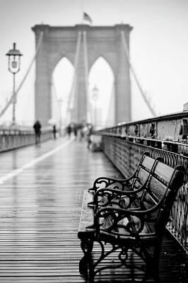 Bath Time - Brooklyn Bridge in Rain by Randy Lemoine