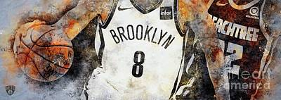 Drawings Royalty Free Images - Brooklyn Nets NBA Team,Atlantic,Sports Posters Royalty-Free Image by Drawspots Illustrations