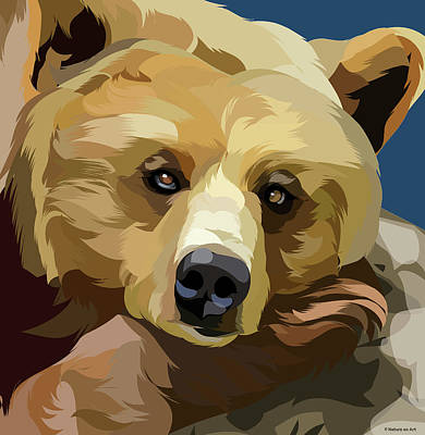 Mixed Media Royalty Free Images - Brown bear Royalty-Free Image by Stars on Art